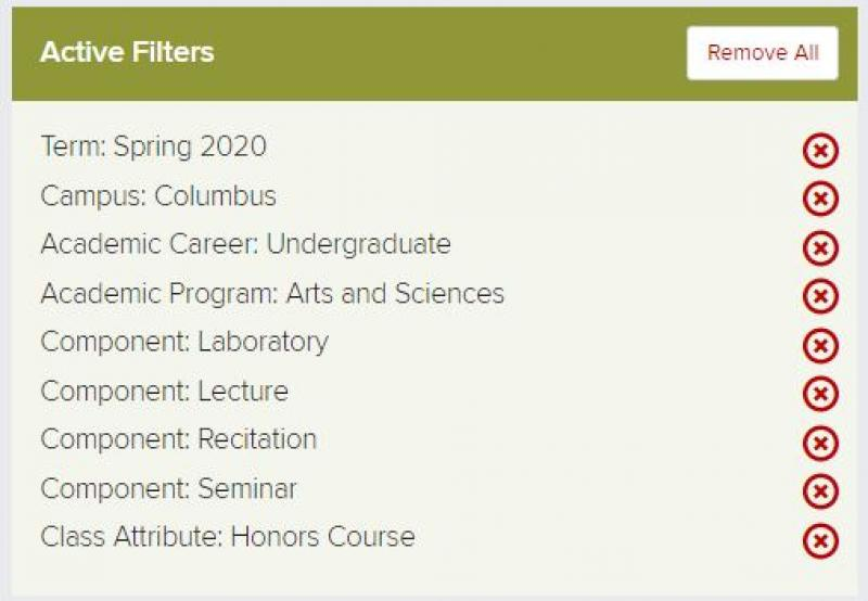 Spring 2020 Honors Classes Filter