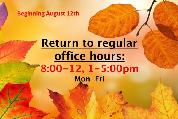 Resume Regular Office Hours