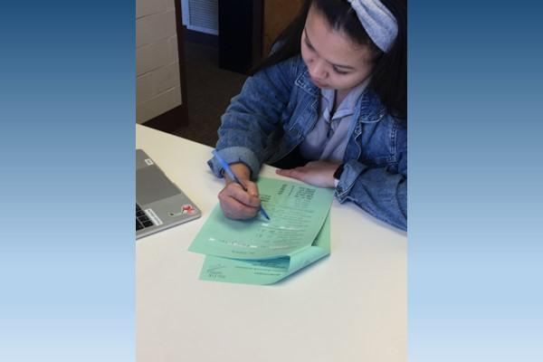 Student working on Honors Contract