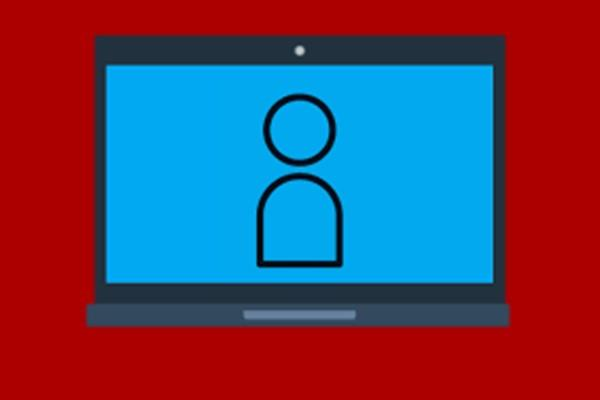person icon on computer screen